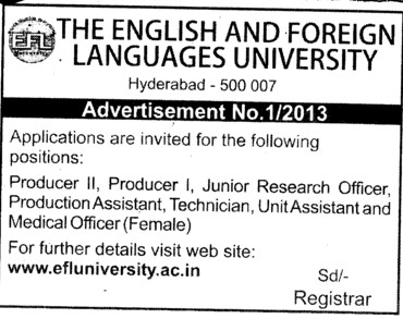 Producer and JRF (English and Foreign Languages University)