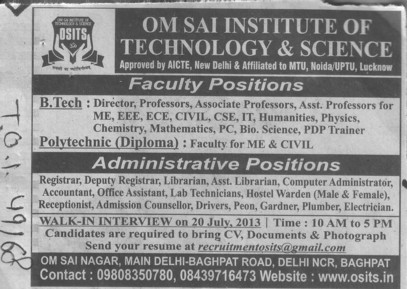Asstt Librarian and Accountant (OM Sai Institute of Technology and Science)