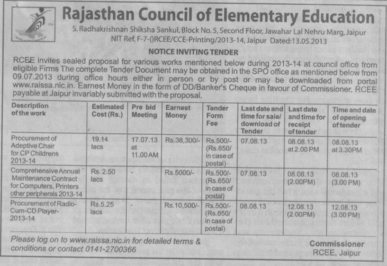 Adeptive Chair (Rajasthan Council of Elementary Education)