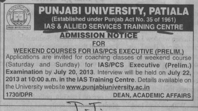 Weekend courses for IAS (Punjabi University)
