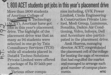 800 students gets jobs in this years placement drive (Amritsar College of Engineering and Technology ACET Manawala)