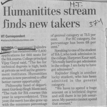Humanitites stream finds new takers (Government Rajindra College)