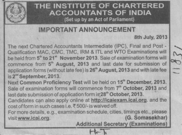MAC and CMC examination (Institute of Chartered Accountants of India (ICAI))
