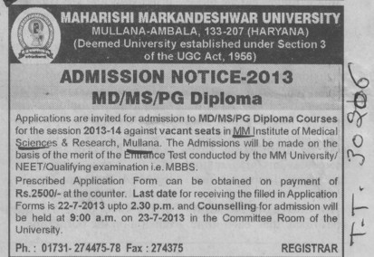 MD, MS and PG Diploma (MM Institute of Medical Sciences and Research (MMIMSR))