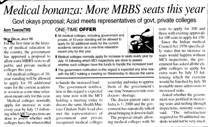 Medical Bonanza, More MBBS seats this year (Medical Council of India (MCI))