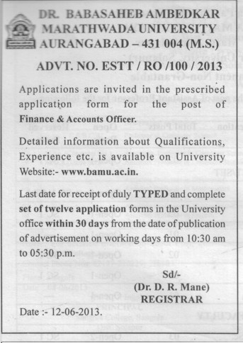 Finance and Accounts Officer (Dr Babasaheb Ambedkar Marathwada University)
