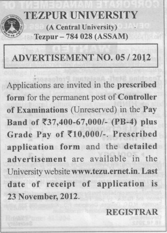Controller of Examination (Tezpur Central University)