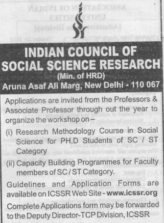 Pofessor and Associate Professor (Indian Council of Social Science Research)