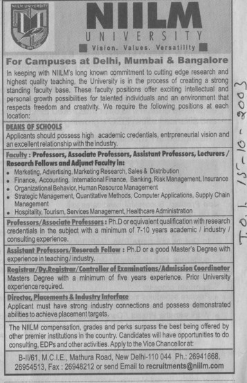 Research Fellow and Lecturer (NIILM University)