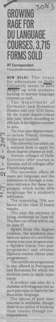Growing rage for DU language courses (Delhi University)
