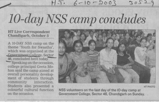 10 day NSS camp concludes (Post Graduate Government College, Co-Educational (Sector 46))