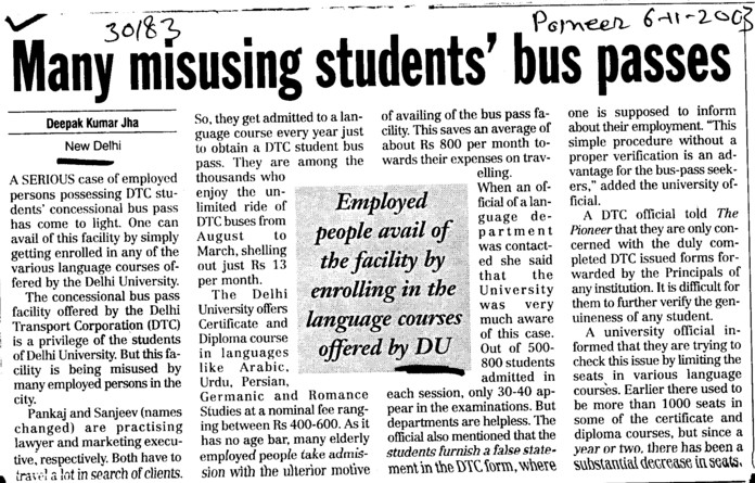 Many misusing students bus passes (Delhi University)