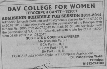 Admission schdule for PG course (DAV College for Women)