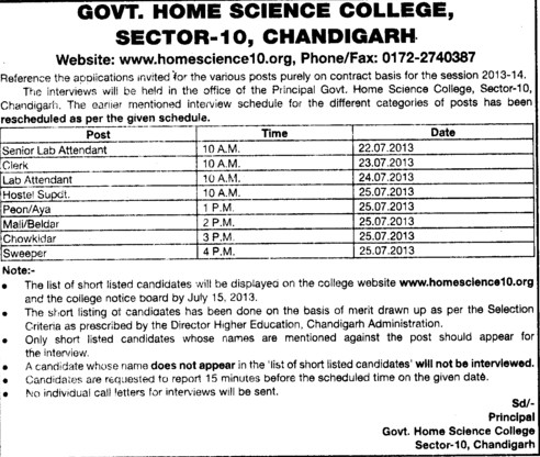 Senior Lab attendent (Government Home Science College)