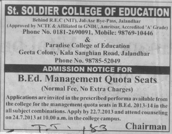 B Ed course (St Soldier College of Education)