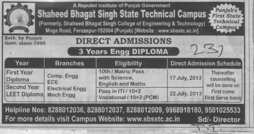 Engg Diploma (Shaheed Bhagat Singh State (SBBS) Technical Campus)