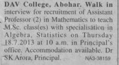 Asstt Professor in Maths (DAV College)