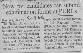 Pvt candidates submit examination forms at PURCs (Panjab University Regional Centre, Department of Law)