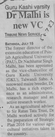 Dr Malhi is new VC (Guru Kashi University)