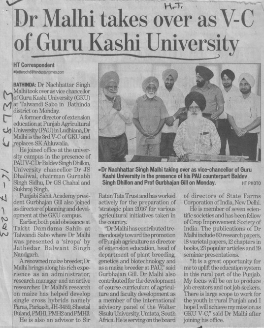 Dr Malhi takes over as VC of GKU (Guru Kashi University)