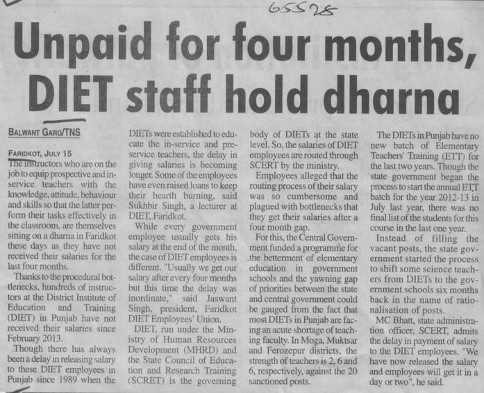 Unpaid for 4 months, DIET staff hold dharna (District Institute of Education and Training (DIET))