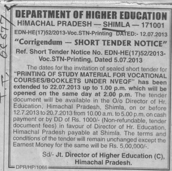 Printing of study material (Directorate of Higher Education Himachal Pradesh)