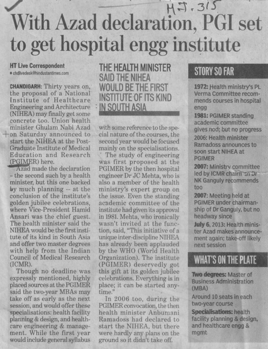 With Azad declaration, PGI set to get hospital engg institute (Post-Graduate Institute of Medical Education and Research (PGIMER))