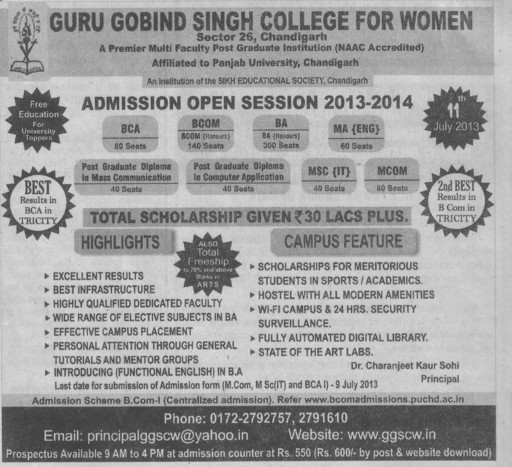 BCA, BCom and MA (Guru Gobind Singh College for Women Sector 26)