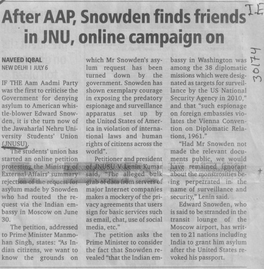 Snowden finds friends in JNU (Jawaharlal Nehru University)