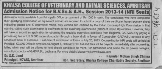 BVSc (Khalsa College of Veterinary and Animal Sciences)