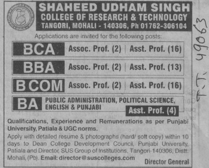 BBA, BCA and BCom (Shaheed Udham Singh College of Research and Technology)