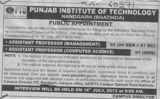Asstt Professor in computer science (Punjab Institute of Technology)