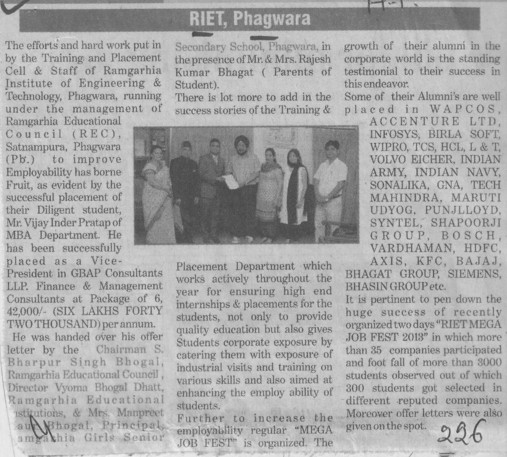 Profile of RIET Phagwaraq (Ramgarhia Institute of Engineering and Technology RIET)