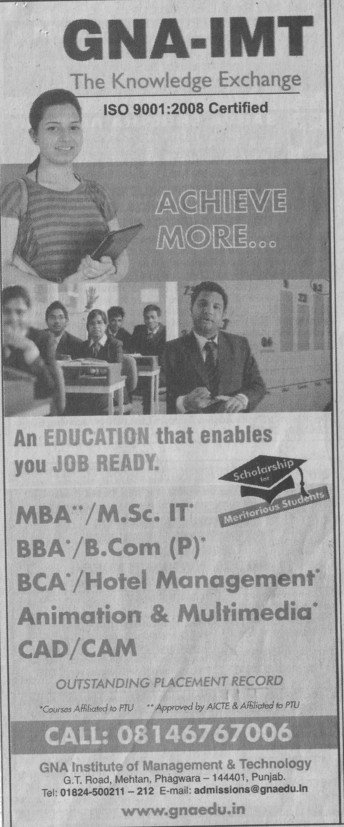 Msc IT and MBA (GNA Institute of Management and Technology)
