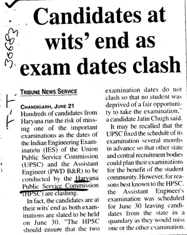 Candidates at wits end as exam dates clash (Haryana Public Service Commission (HPSC))
