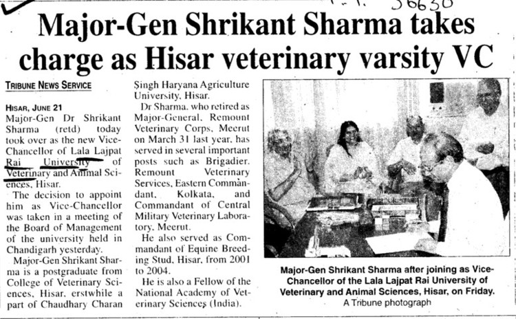 Major Gen Shrikant Sharma takes charge on VC (Lala Lajpat Rai University of Veterinary and Animal Sciences)