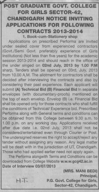 Technical and Financial bid (PG Government College for Girls (GCG Sector 42))