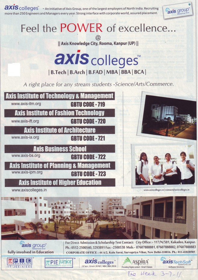 Btech, B Arch and MBA (Axis Group)