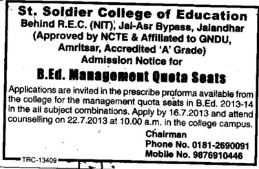 Management quota seats in B Ed (St Soldier College of Education)