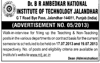 Teaching and non teaching position (Dr BR Ambedkar National Institute of Technology (NIT))