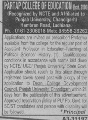 Asstt Professor (Partap College of Education)
