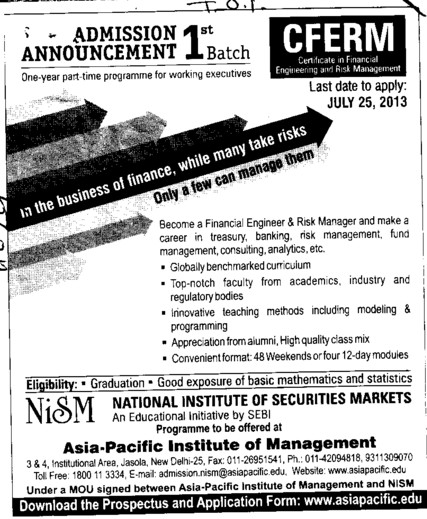 CFERM Program (Asia Pacific Institute of Management)