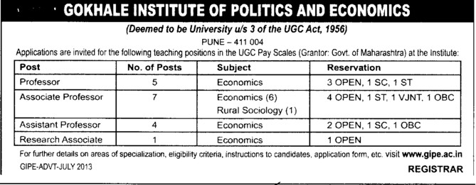 Asstt Professor and Research Asso (Gokhale Institute of Politics and Economics GIPE)