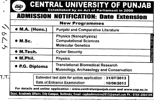 MSc and MTech (Central University of Punjab)