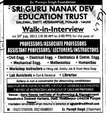 Lecturers and Asstt Professor (Guru Nanak Institute of Engineering and Management Dalewal)