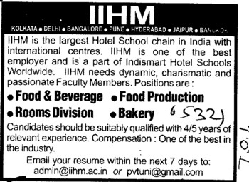 Food Production and Bakery (International Institute of Hotel Management (IIHM))