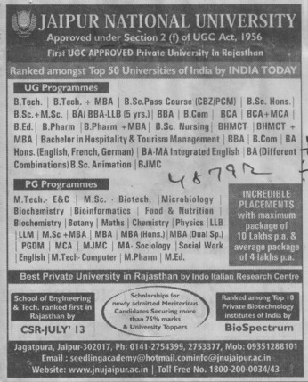 BTech plus MBA (Jaipur National University)