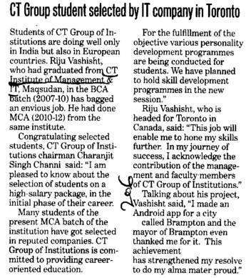 Students selected by IT company in toronto (CT Institute of Management and Information Technology)