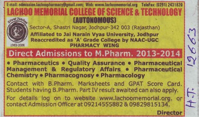 M Pharm (Lachoo Memorial College of Science and Technology)