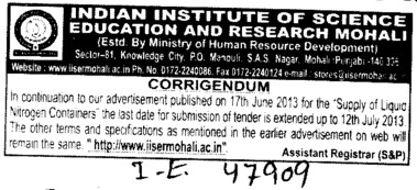 Supply of Liquid Nitrogen Containers (Indian Institute of Science Education and Research (IISER))